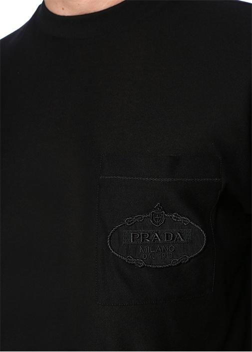 Siyah Bisiklet Yaka Şehir Baskılı BasicT-shirt