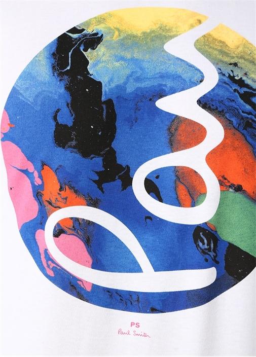 Beyaz Bisiklet Yaka Dünya Baskılı Logolu T-shirt