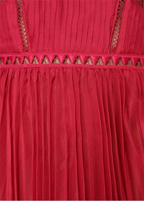Pembe Pileli Fisto Detaylı Midi Elbise