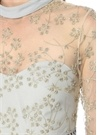 Mavi Gold Tül Detaylı Işlemeli Maxi Elbise