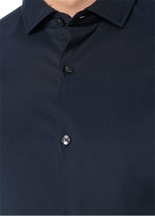 Slim Fit Lacivert İngiliz Yaka Stretch Gömlek