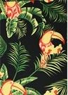 Magdalena Siyah Tropik Desenli Midi Etek