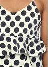 Pepolina Ekru Mavi Puanlı Streç Crop Bluz