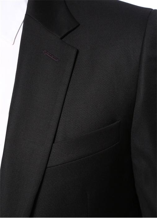 Soho Fit Siyah Kelebek Yaka Yün Takım Elbise