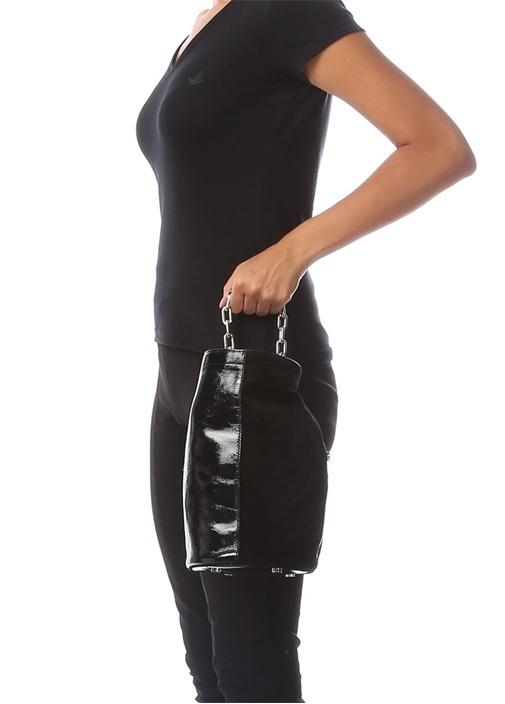 Siyah Parlak Dokulu Kadın Deri Çanta