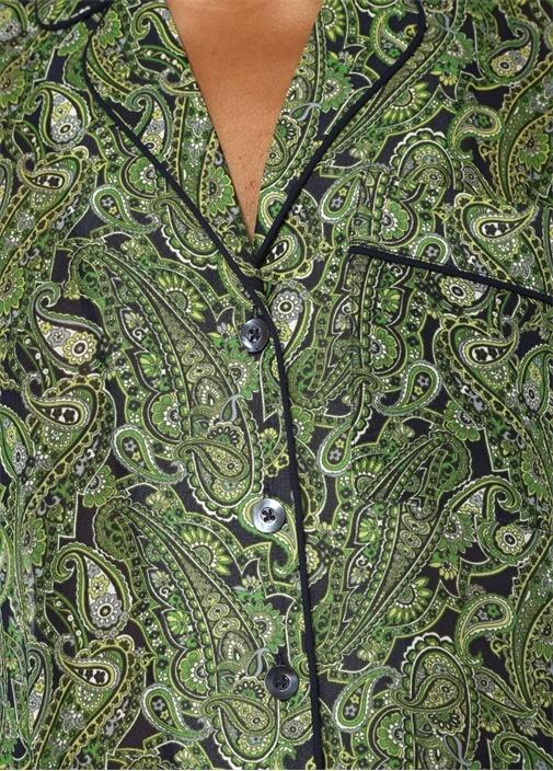 Yeşil Şal Desenli Cepli Yarım Kollu Gömlek
