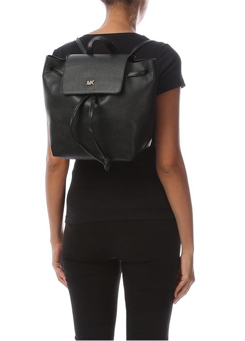 Junie Medium Siyah Logolu Kadın Deri Sırt Çantası