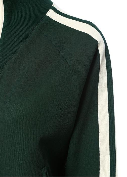 Darcey Yeşil Dik Yaka Şeritli FermuarlıSweatshirt