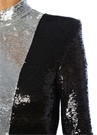 Siyah Silver Dik Yaka Payetli Mini Kokteyl Elbise
