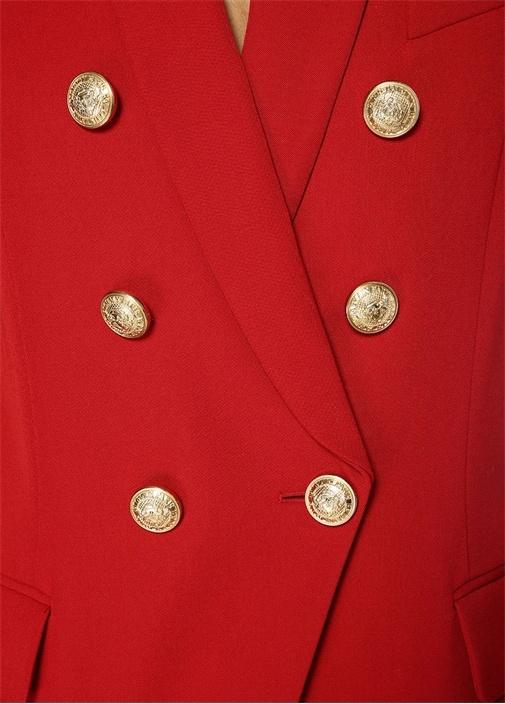 Kırmızı Şal Yaka Kruvaze Yün Ceket