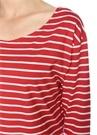 Kırmızı Çizgili Kayık Yaka Uzun Kollu T-shirt