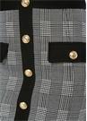 Siyah Beyaz Ekoseli Gold Düğmeli Mini Etek