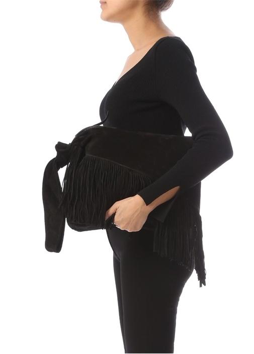 Farwo Siyah Püsküllü Kadın Süet Çanta