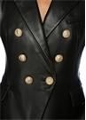 Siyah Kırlangıç Yaka Kruvaze Deri Ceket