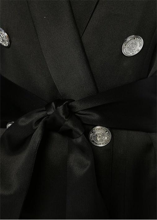 Siyah Şal Yaka Düğmeli Ceket Formlu İpek Bluz