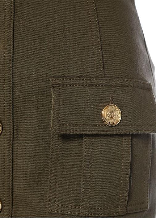 Haki Önü Gold Düğmeli Mini Jean Etek