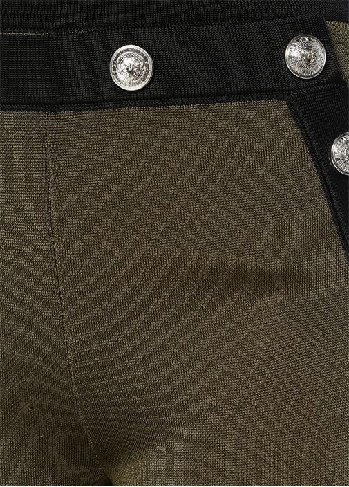 Haki Siyah Yüksek Bel Bol Paça Dokulu Pantolon