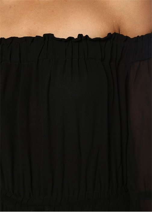 Rina Siyah Omzu Açık Asimetrik Midi Elbise