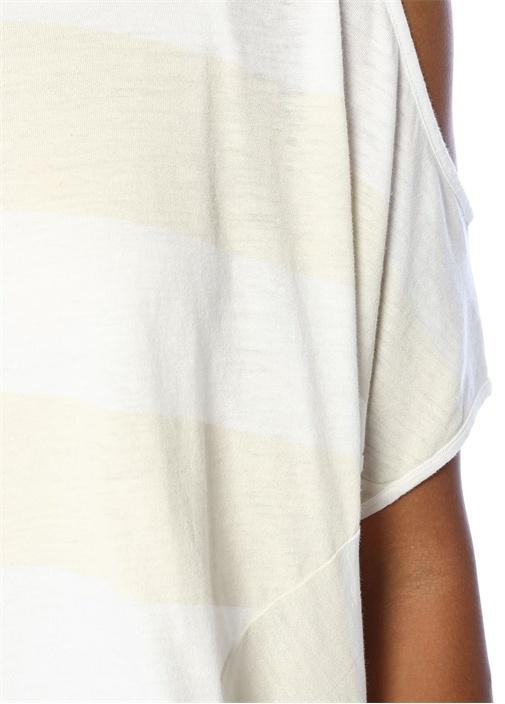 Ella Beyaz Çizgili Omzu Açık Katlı MiniElbise