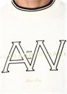 Ekru Melanj Bisiklet Yaka Logo Nakışlı Sweatshirt