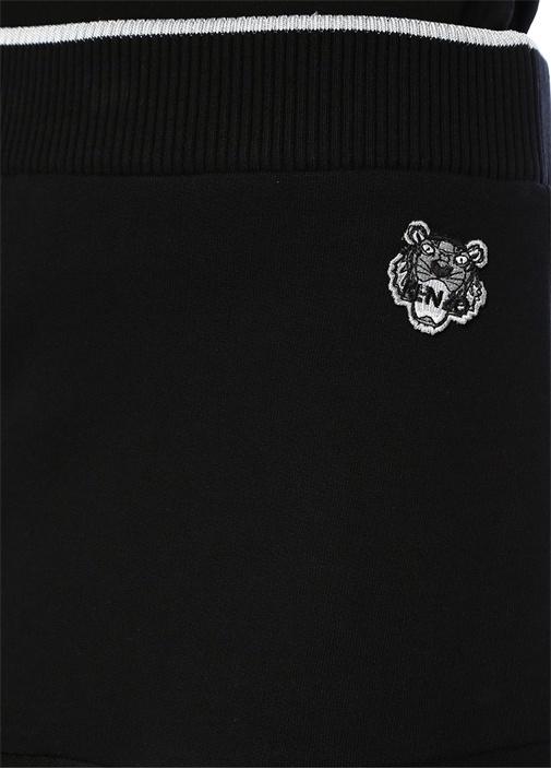 Siyah Kaplan Logolu Volanlı Mini Etek