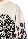 Krem Leopar Desenli Düşük Kol Mini Triko Elbise