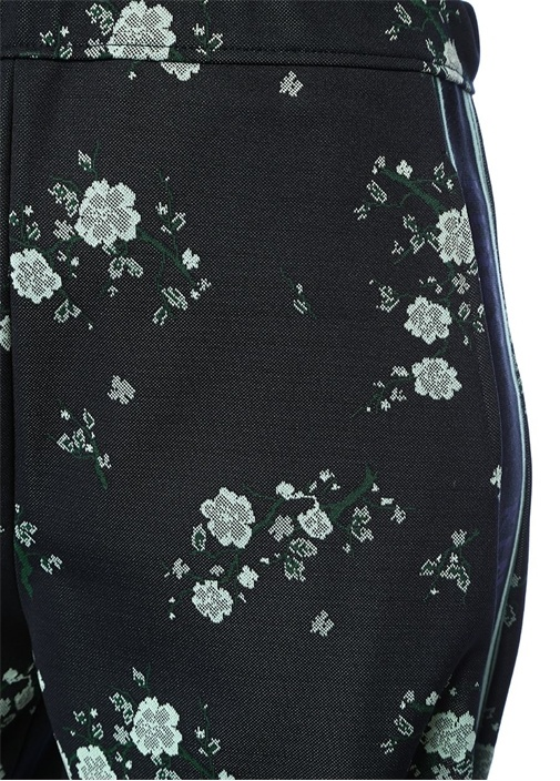 Cheongsam Flower Lacivert Logo Şeritli Pantolon