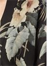 Kos Siyah Tropikal Desenli Kimono Hırka
