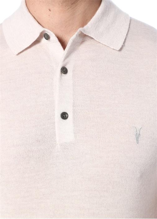 Mode Ekru Logo Nakışlı Polo Yaka Yün T-shirt