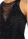 Lacivert İşlemeli Püsküllü Mini Kokteyl Elbise