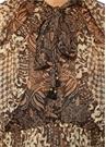Tali Kahverengi Fırfırlı Midi Şifon İpek Elbise