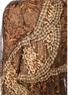 Tali Kahverengi Fırfırlı Şifon İpek Bluz