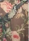 Iris Mavi Çiçekli Fırfırlı Şifon İpek Bluz