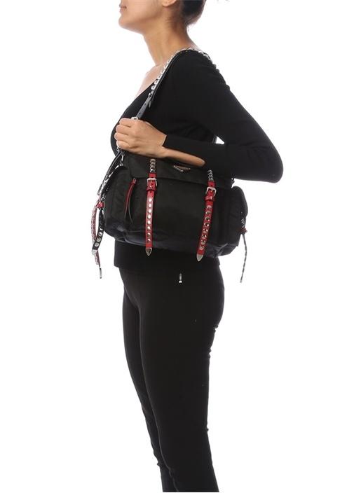 Siyah Logolu Troklu Kadın Çanta