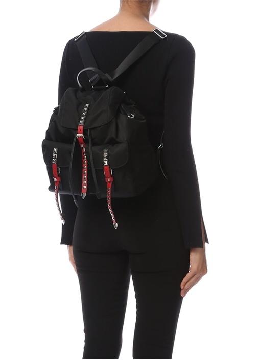 Siyah Kırmızı Troklu Kadın Sırt Çantası