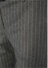 Füme Normal Bel Çizgili Dar Paça Yün Pantolon