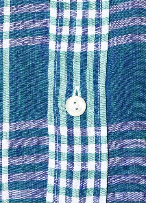 Slim Fit Yeşil Yakası Düğmeli Ekose Desenli Gömlek