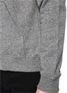 Gri Melanj Kapüşonlu Logo Baskılı Sweatshirt