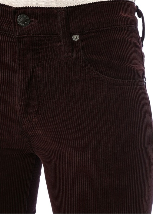 Raisin Bordo Bol Paça Kadife Jean Pantolon