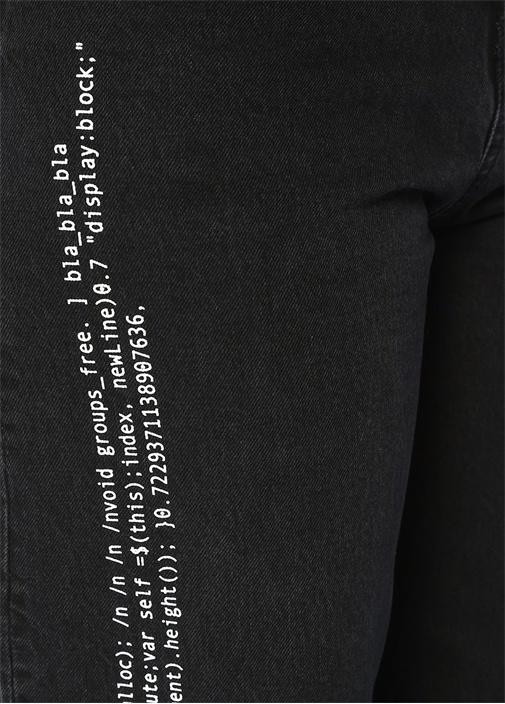Bez Siyah Yüksek Bel Yazılı Crop Jean Pantolon