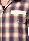 Ekru Kırmızı Kapüşonlu Ekose Desenli Gömlek