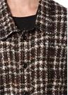 Kahverengi İngiliz Yaka Ekose Desenli Tweed Gömlek