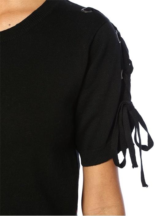 Jullian Siyah Kuşgözü Detaylı Crop T-shirt