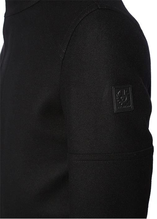Siyah Dik Yaka Yırtmaçlı Yün Palto