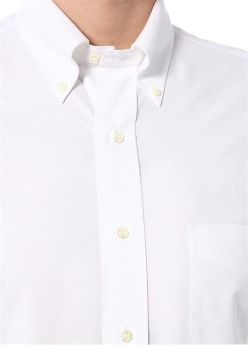 Beyaz Düğmeli Yaka Non-Iron Gömlek