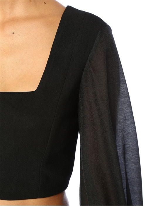 Advance Siyah Kare Yaka Agraflı Uzun Kol Crop Bluz