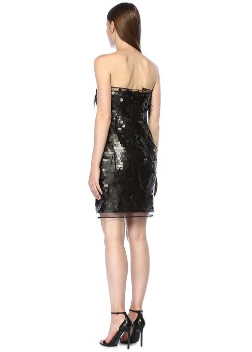 Etkp Siyah Pullu Tüylü Mini Elbise