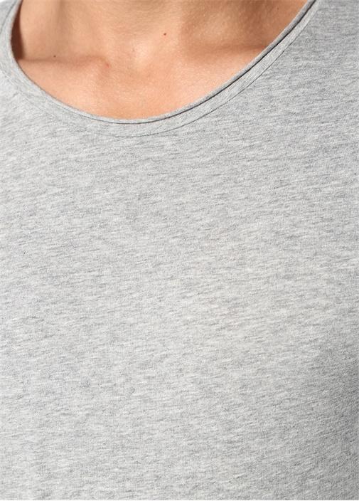 Kim Gri Melanj Bisiklet Yaka Basic T-shirt