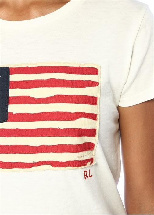 Ekru Bayrak Patchli Basic T-shirt