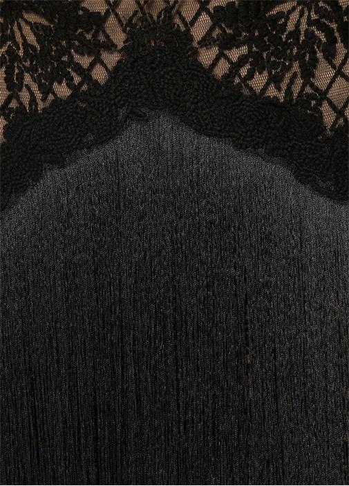 Siyah Püsküllü Nakışlı Midi Kokteyl Elbise